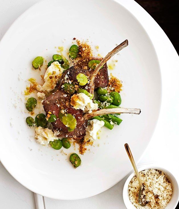 "**[Roast lamb rack with spring onions, broad beans and goat's cheese](https://www.gourmettraveller.com.au/recipes/chefs-recipes/roast-lamb-rack-with-spring-onions-broad-beans-and-goats-cheese-7794|target=""_blank"")**"