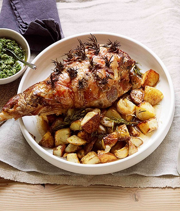 "**[Roast lamb with anchovies, rosemary and salsa verde](https://www.gourmettraveller.com.au/recipes/browse-all/roast-lamb-with-anchovies-rosemary-and-salsa-verde-11068|target=""_blank"")**"