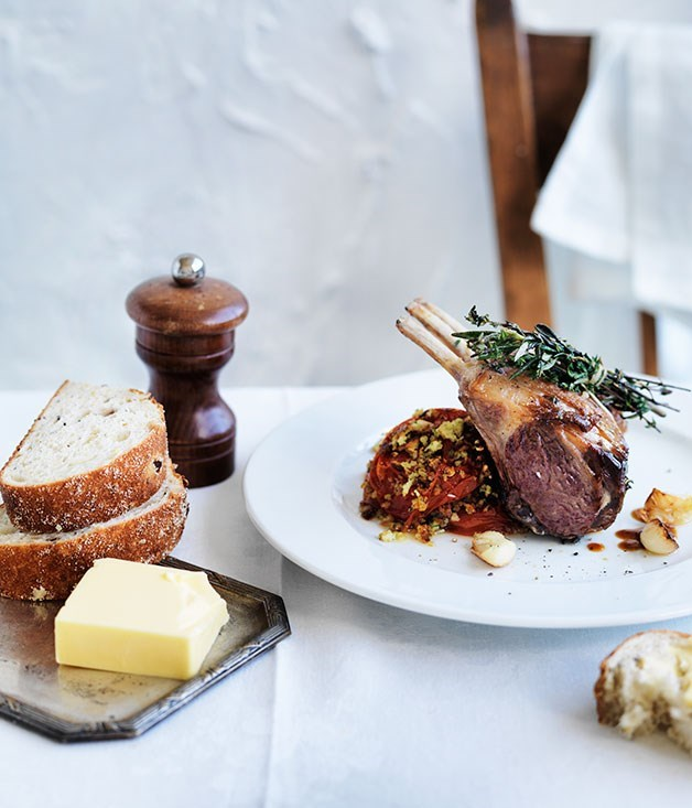 "**[Roast lamb with Provençal tomatoes](https://www.gourmettraveller.com.au/recipes/chefs-recipes/roast-lamb-with-provencal-tomatoes-7939|target=""_blank"")**"