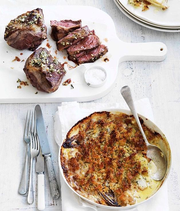 **Rosemary roast lamb with witlof gratin**