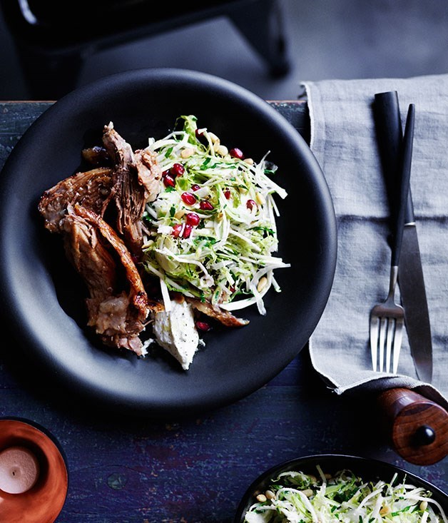 "**[Slow-roasted lamb shoulder with Brussels sprout slaw](https://www.gourmettraveller.com.au/recipes/browse-all/slow-roasted-lamb-shoulder-with-brussels-sprout-slaw-12237|target=""_blank"")**"
