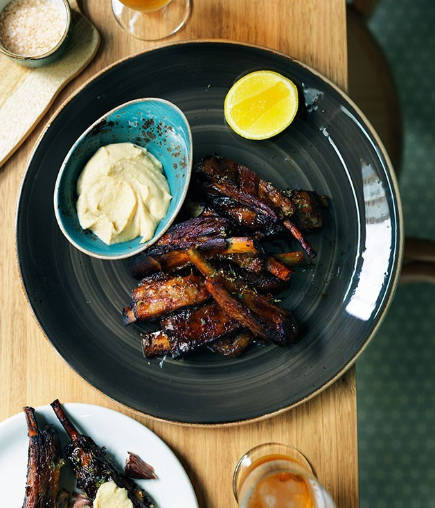 "**[Slow-roasted lamb spare ribs with thyme honey and ouzo glaze](https://www.gourmettraveller.com.au/recipes/chefs-recipes/slow-roasted-lamb-spare-ribs-with-thyme-honey-and-ouzo-glaze-7904|target=""_blank"")**"