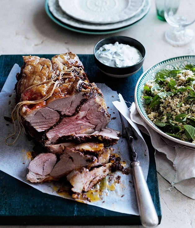 "**[Spring lamb roast with mint yoghurt sauce](https://www.gourmettraveller.com.au/recipes/browse-all/spring-lamb-roast-with-mint-yoghurt-sauce-10666|target=""_blank"")**"