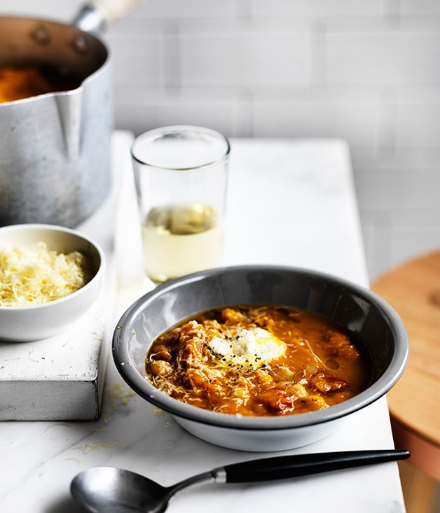 """**[Pumpkin and chickpea soup](http://www.gourmettraveller.com.au/recipes/browse-all/pumpkin-and-chickpea-soup-12316
