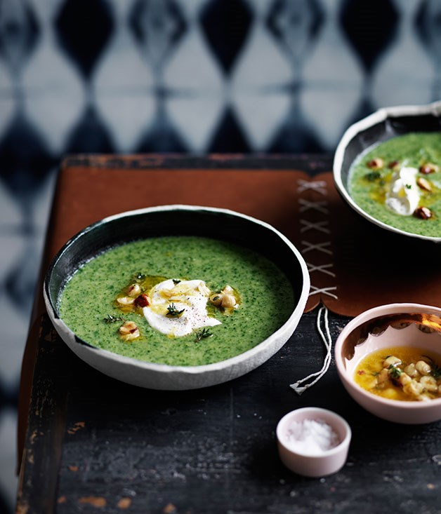 Broccoli soup with crème fraîche and hazelnuts