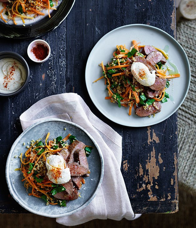 "[Spiced lamb with warm carrot and freekeh salad](http://www.gourmettraveller.com.au/recipes/fast-recipes/spiced-lamb-with-warm-carrot-and-freekeh-salad-13623|target=""_blank"")"