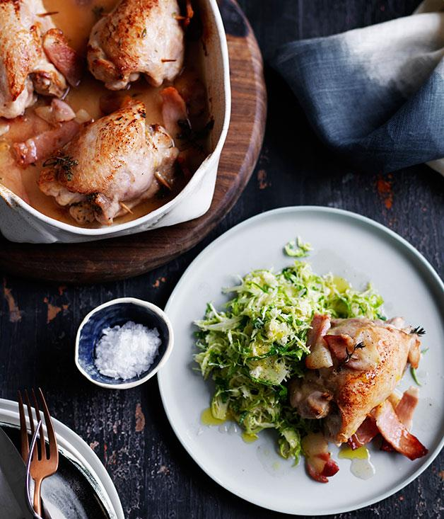 "**[Thyme and garlic roast chicken with Brussels sprouts slaw](http://www.gourmettraveller.com.au/recipes/fast-recipes/thyme-and-garlic-roast-chicken-with-brussels-sprouts-slaw-13624|target=""_blank"")**"