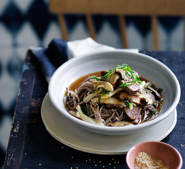 Soba noodles with miso flank steak, soy and mushrooms