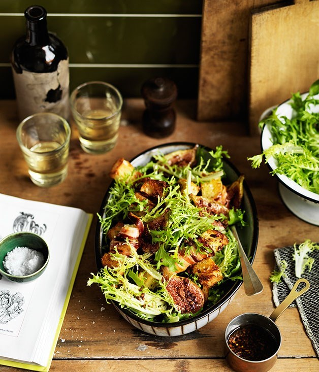 **Frisée Salad with Roasted Figs and Pancetta Croûtons**