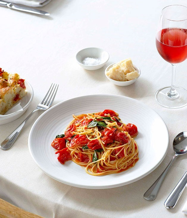 "[**Spaghettini All'Arrabbiata Fresca**](https://www.gourmettraveller.com.au/recipes/browse-all/spaghettini-allarrabbiata-fresca-13943|target=""_blank"")"