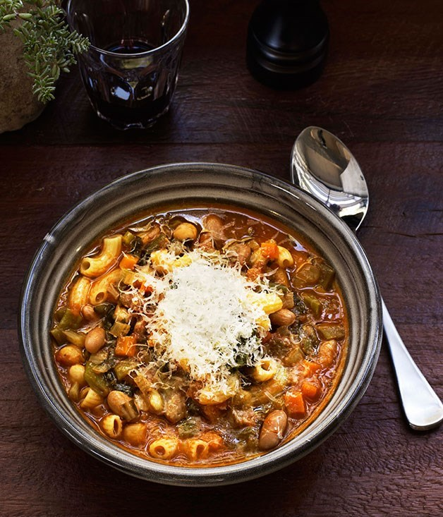 "[**Minestrone**](https://www.gourmettraveller.com.au/recipes/chefs-recipes/minestrone-7851|target=""_blank"")"
