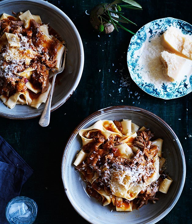 "[**Papardelle with Duck Ragù**](https://www.gourmettraveller.com.au/recipes/browse-all/pappardelle-with-duck-ragu-11920|target=""_blank"")"