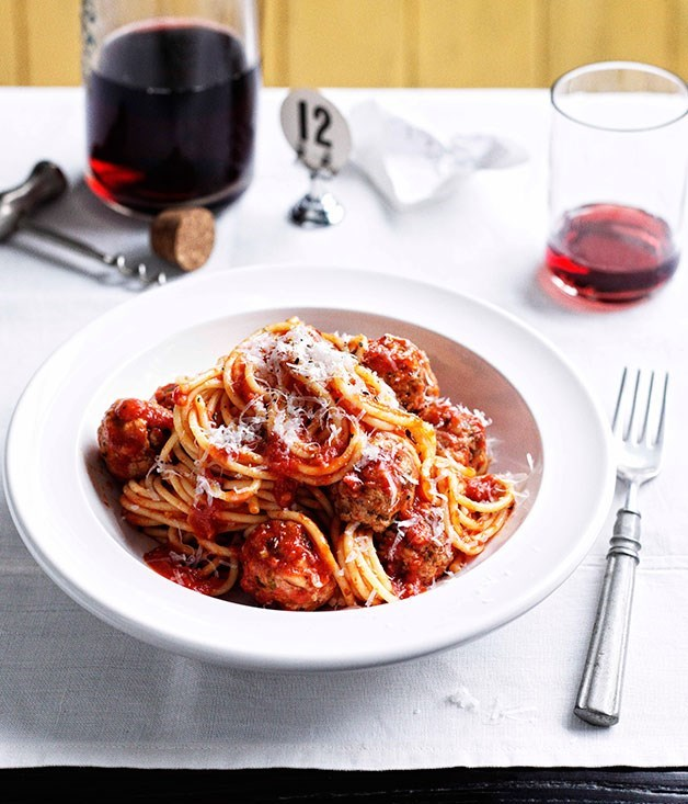 "[**Spaghetti con Polpette**](https://www.gourmettraveller.com.au/recipes/browse-all/spaghetti-con-polpette-13922|target=""_blank"")"