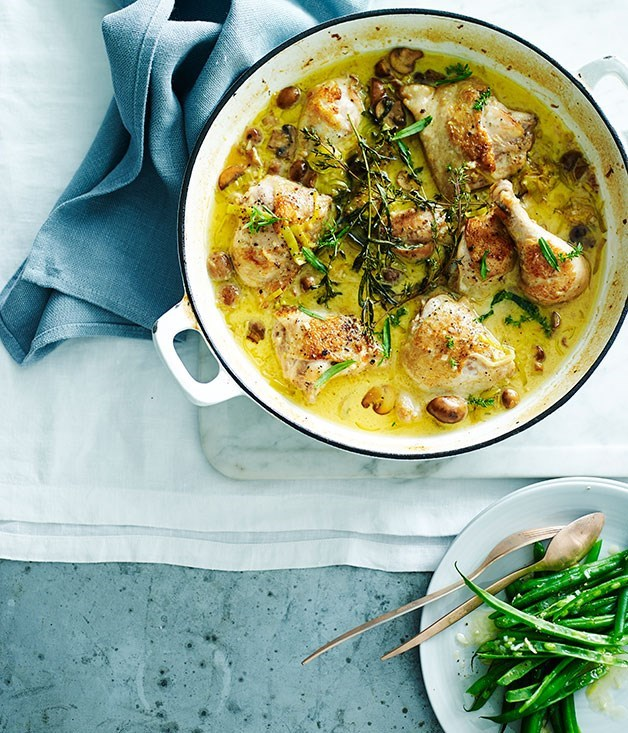 **Chicken Braised in Mustard and Verjuice with Buttered Green Beans**