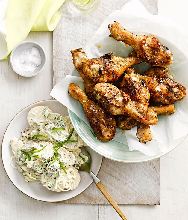 **Spiced Drumsticks with Potato and Pickle Salad**