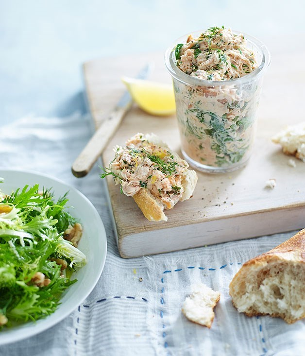 **Smoked Trout Rillettes with Frisée and Walnut Salad**