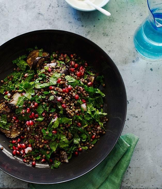 **Grilled Eggplant Salad with Lentils and Sesame Yoghurt**