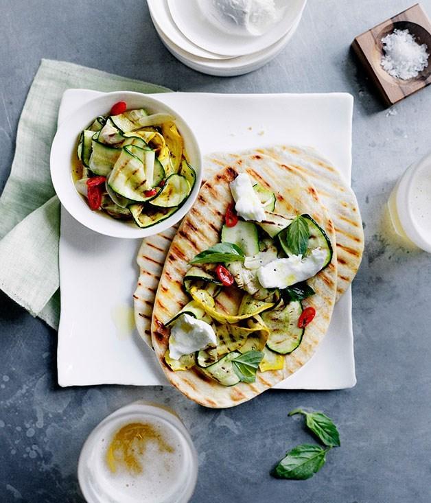 **Char-Grilled Zucchini and Mozzarella Piadine**