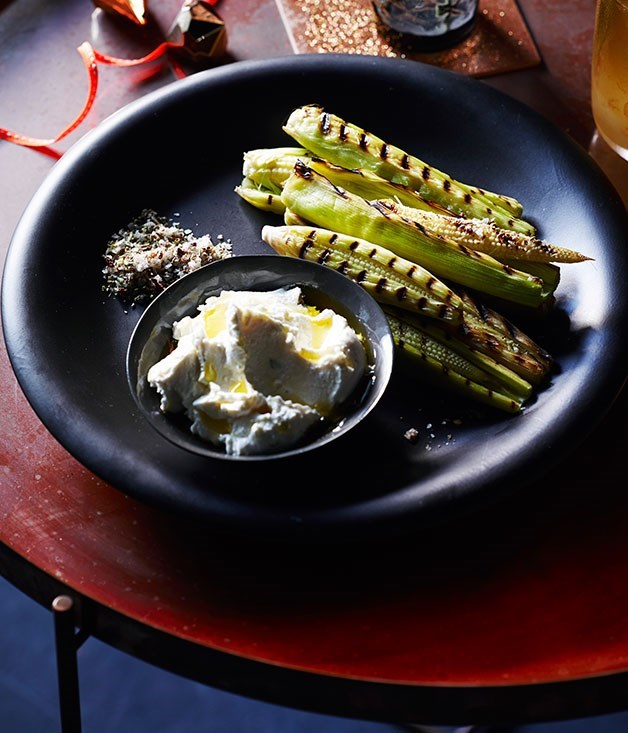 **Grilled Baby Corn with Spiced Salt and Whipped Feta**