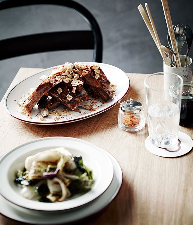 **Grilled Cabbage with Miso Dressing and Nori**