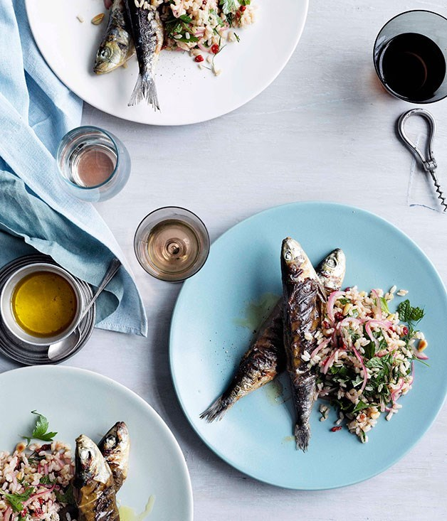 **Char-Grilled Vine-Leaf Sardines with Brown Rice, Pine Nuts and Barberries**
