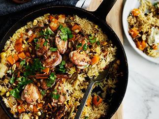 Fragrant pumpkin rice with quail