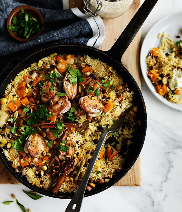 """[Fragrant pumpkin rice with quail](http://www.gourmettraveller.com.au/recipes/browse-all/fragrant-pumpkin-rice-with-quail-12320