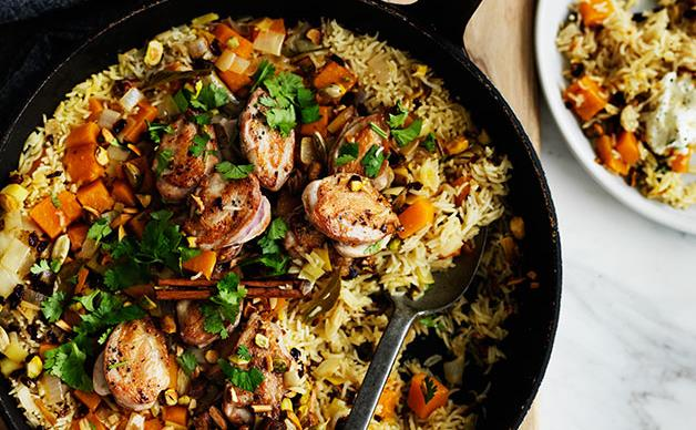 Fragrant pumpkin rice with quail
