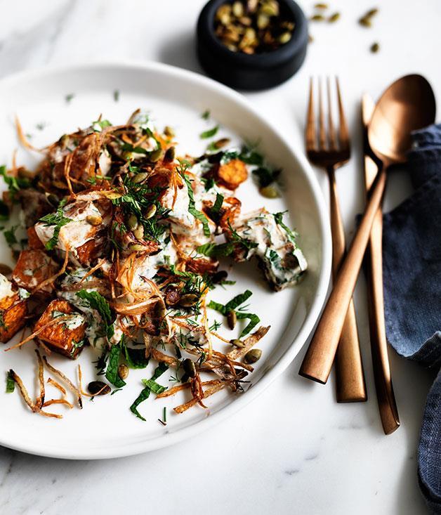 "**[Fried pumpkin with yoghurt-herb dressing and crisp onion](https://www.gourmettraveller.com.au/recipes/browse-all/fried-pumpkin-with-yoghurt-herb-dressing-and-crisp-onion-12322|target=""_blank"")**"