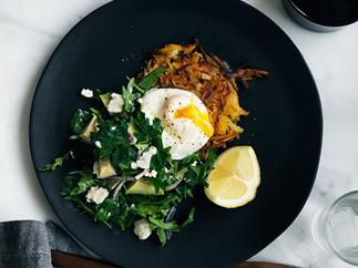 Pumpkin rösti with poached egg, and mint, feta and avocado salad