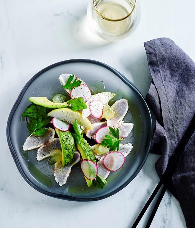 Seared kingfish with radish, avocado and wasabi