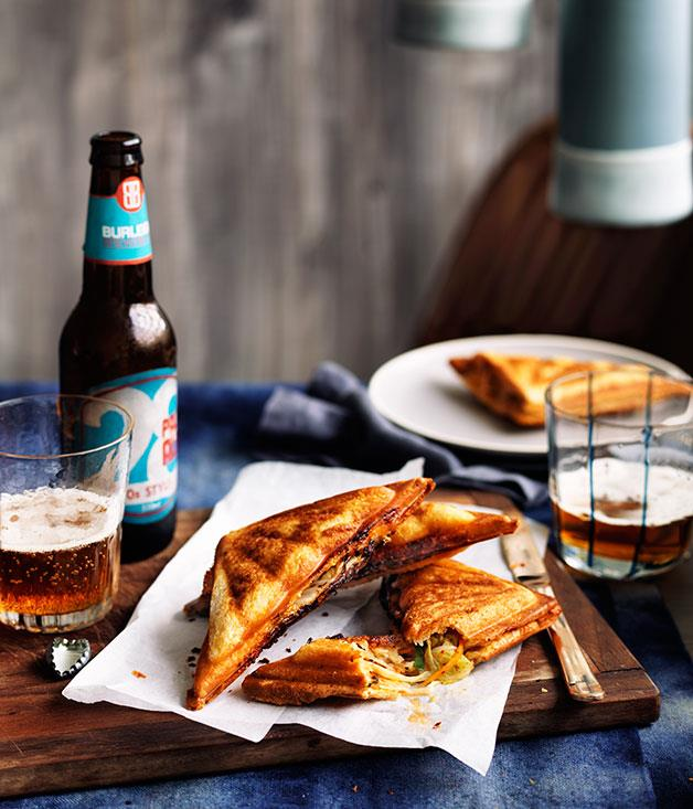 "**[Kimchi and cheese jaffles](https://www.gourmettraveller.com.au/recipes/chefs-recipes/kimchi-and-cheese-jaffles-9230|target=""_blank"")**"