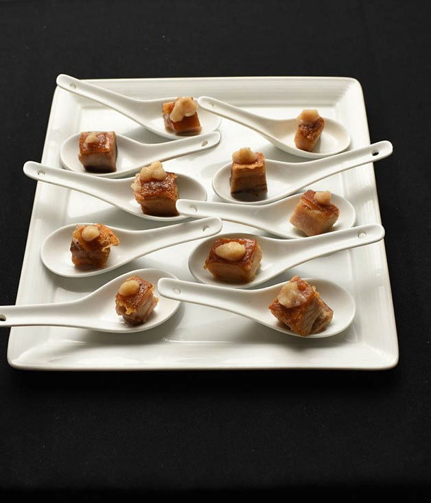 **** Crisp pork belly canapés with vanilla.