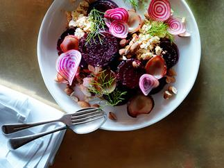 Roast beetroot with shankleesh, onion, almonds and dill