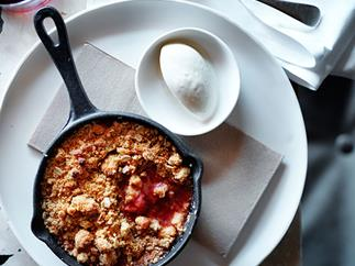 Rhubarb, strawberry and pink peppercorn crumble with chamomile ice-cream