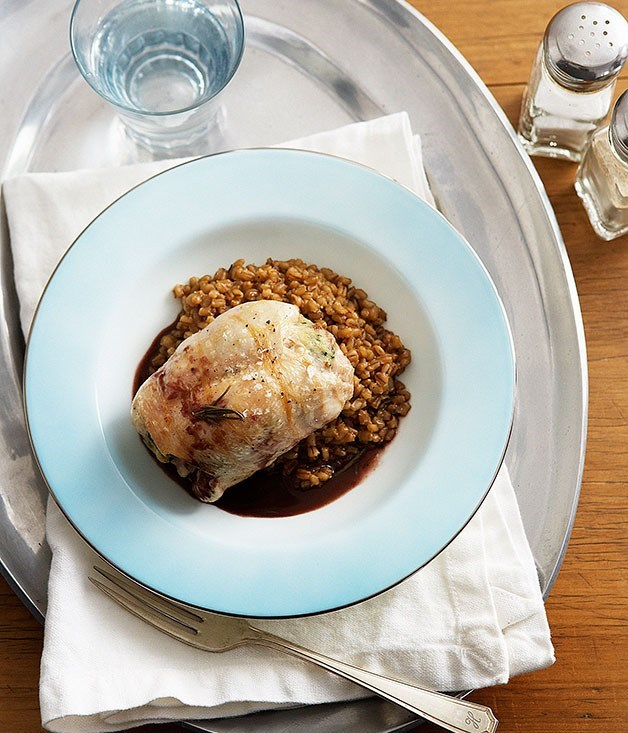 **Rabbit with pearl barley risotto and rosemary jus**