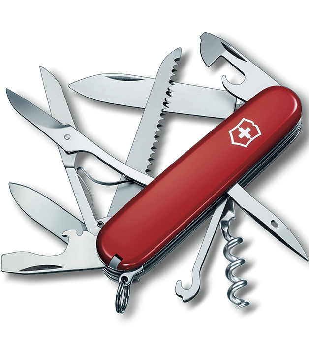 **VICTORINOX HUNTSMAN** [Victorinox](http://www.victorinox.com/global/en) has added another notch to its Swiss army knife offerings with this pocket-sized stainless-steel number. The Huntsman features the added aid of a wood saw and scissors so Mr Fix-It can accomplish just about anything. $49.95