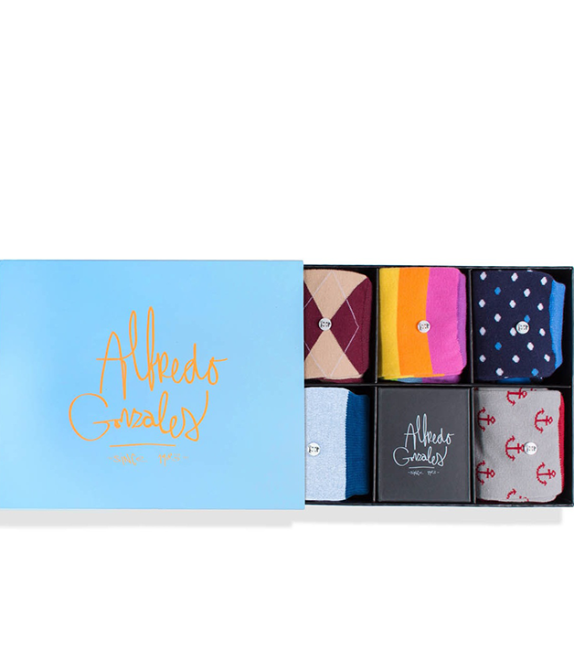 **ALFREDO GONZALES FREEDOM SOCK BOX** These quirky [Alfredo Gonzales](http://www.sorrythanksiloveyou.com) patterned socks are loaded with personality to spice up a conventional suit and tie. $90