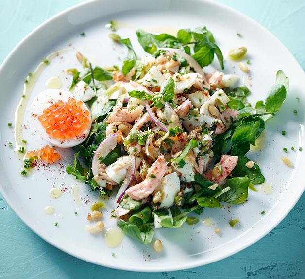 Hot-smoked trout and egg salad