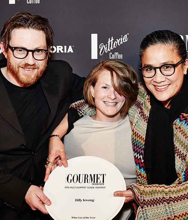 **** Giorgio De Maria andBilly Kwong's Nicola Calvert and Kylie Kwong pick up the prize for Wine List of the Year.
