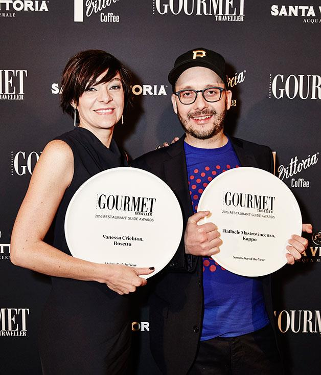 **** Maître d' of the Year Vanessa Crichton (Rosetta, Melbourne) with Sommelier of the Year Raffaele Mastrovincenzo (Kappo, Melbourne).