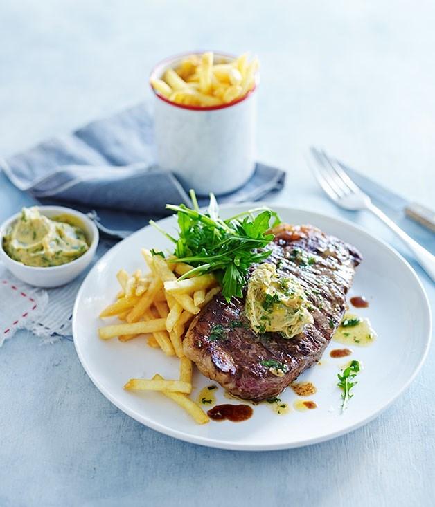 **[Char-grilled sirloin steak with garlic butter](https://www.gourmettraveller.com.au/recipes/fast-recipes/char-grilled-sirloin-steak-with-garlic-butter-13406)**