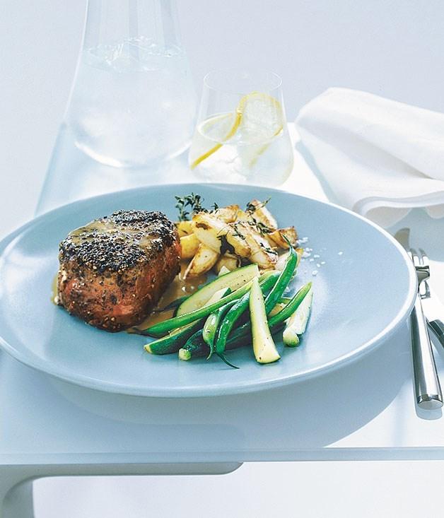 **[Steak au poivre with crisp potatoes](https://www.gourmettraveller.com.au/recipes/fast-recipes/steak-au-poivre-with-crisp-potatoes-9422)**