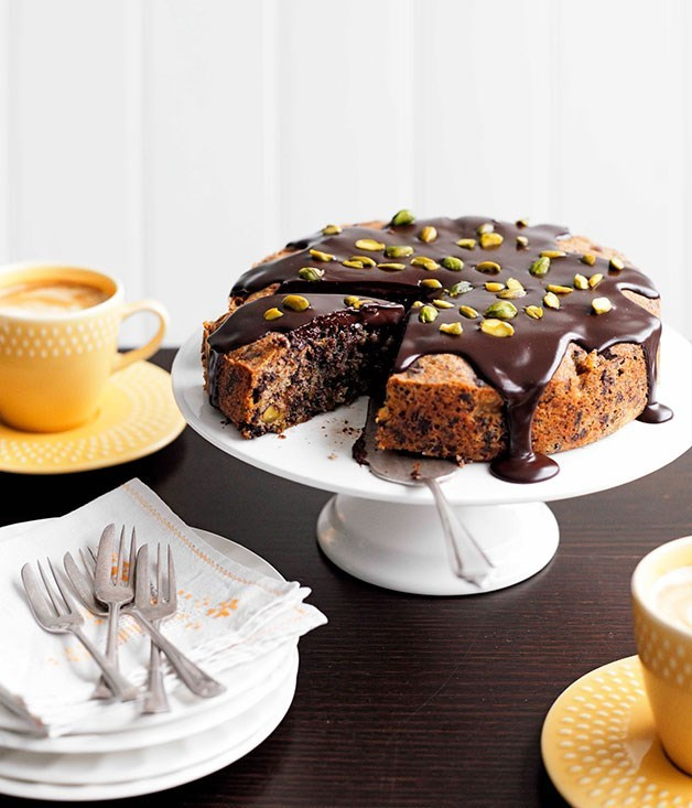 "[Dark chocolate, pear and pistachio cake](https://www.gourmettraveller.com.au/recipes/chefs-recipes/dark-chocolate-pear-and-pistachio-cake-8993|target=""_blank"")"
