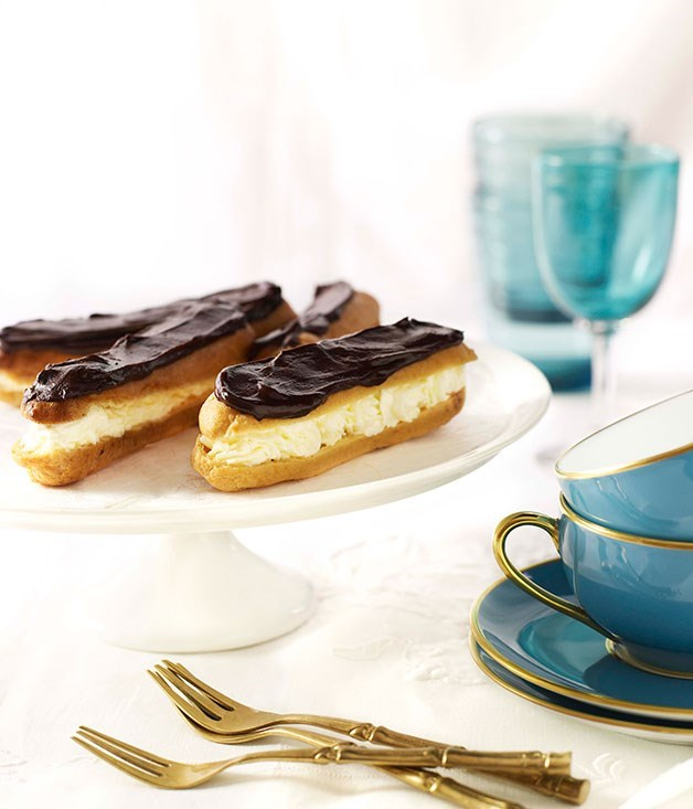 "[Chocolate éclairs](https://www.gourmettraveller.com.au/recipes/browse-all/chocolate-eclairs-14092|target=""_blank"")"