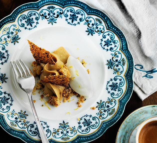 Dulcey crémeux with hemp seeds and crème fraîche yuzu sorbet