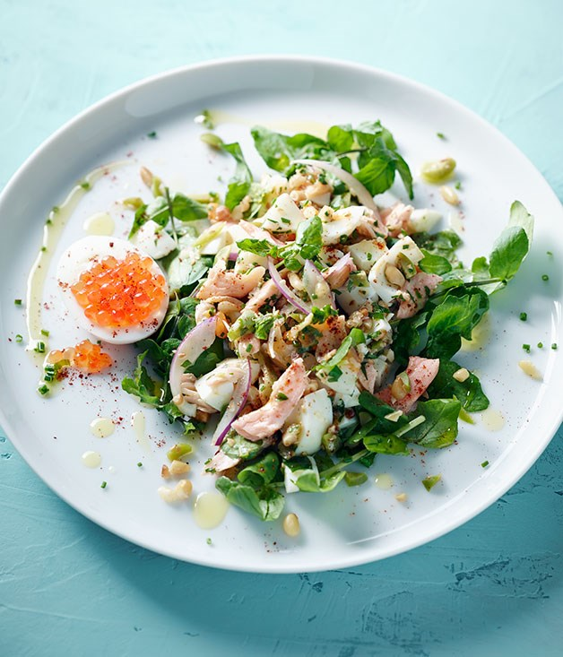 **Hot-smoked trout and egg salad**