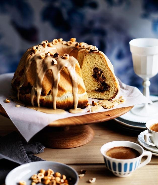 **Cinnamon and sour-cherry scroll cake with crunchy coffee glaze**