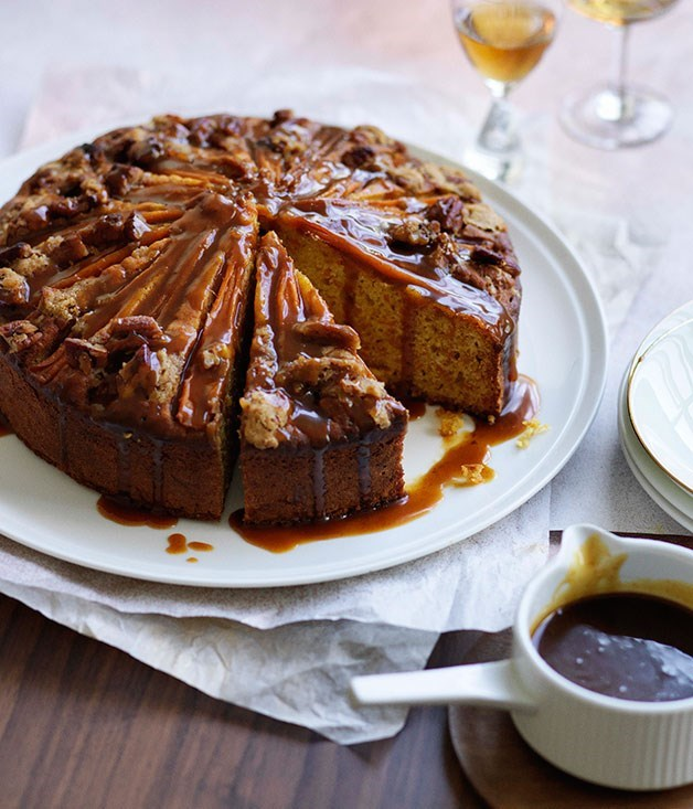 Buttermilk carrot cake with spiced caramel