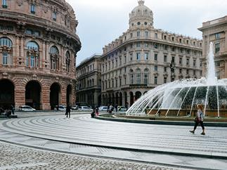 Piazza de Ferrari, the hub of city life in Genoa, Italy.
